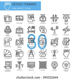 Design Thinking , Thin Line and Pixel Perfect Icons