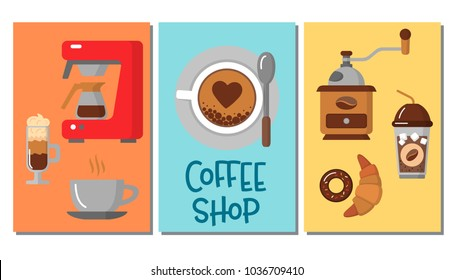 Design of three simple banners with coffee icons. For coffee shop and coffee house. Colorful template for your design, prints and illustrations. Symbol for websites and print media. Flat style Vector