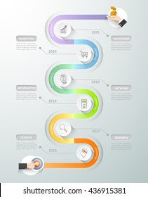 Design timeline infographic template. Business concept 6 options can be used for workflow layout, diagram, number options, timeframe or milestones project.