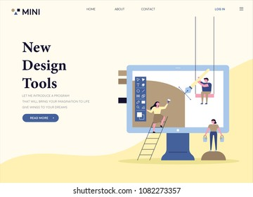 design tool application concept web page template. flat design style vector illustration set