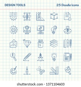 Design Tools 25 Doodle Icons. Hand Drawn Business Icon set
