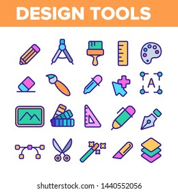 Design Tools Vector Thin Line Icons Set. Graphic Design Tools, Painting, Sketching Accessories Linear Pictograms. Drawing Equipment, Brushes, Pencils, Image Editing Instruments Contour Illustrations