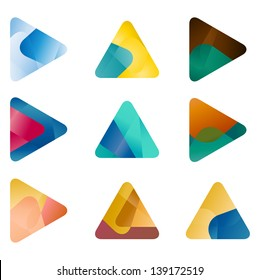 Design triangle, arrow vector logo template. Speed icon set.You can use in the game, app, communications, electronics, agriculture, or creative design concepts.