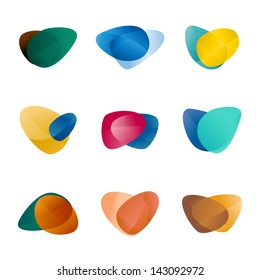 Design triangle, leaves, liver, love heart, circular arrows logo vector template. Speed icon set.You can use in the game, app, communications, electronics, agriculture, or creative design concepts.