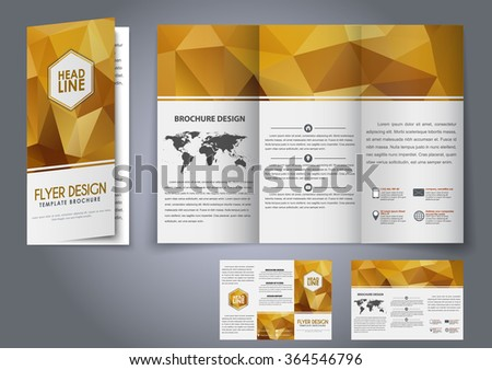 design trifold flyers brochures gold polygonal stock vector royalty
