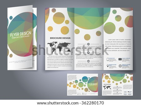 design trifold flyers brochures multicolor polygonal stock vector