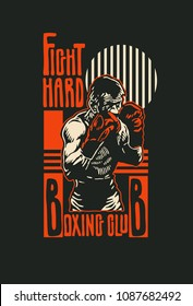 Design t-shirt Boxing Club with boxer. Boxing hand-written typography, t-shirt graphics, vector illustration.