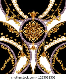 Design t-shirt with golden baroque elements.