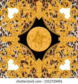 Design for t-shirt with leopard skin and golden baroque elements. Fashion seamless pattern