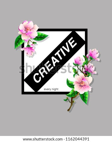 Design Tshirt Magnolia Flowers Slogan Stock Vector Royalty Free