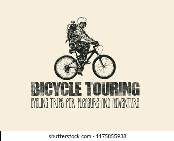 Design T-shirt Print Bicycle Touring. Mountain Bike Rider And Hand-Written Fonts. Vector illustration.