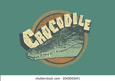 Design T-shirt Print With Crocodile Head and Grunge Texture. vector illustration.