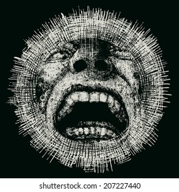 Design for t-shirt print with screaming head and textures. vector illustration.