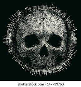 Design for t-shirt print with skull and textures. vector illustration.