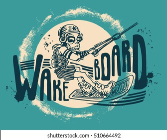 Design T-shirt Wakeboard. Vector Illustration.