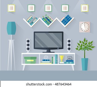 Design TV zone in a flat style. Interior living room with furniture, tv set and shelf. Vector illustration.