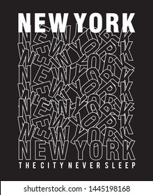 DESIGN TYPOGRAPHY NEW YORK FOR PRINT T SHIRT
