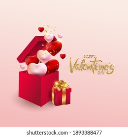 Design for Valentine's Day. Realistic red gift boxes. Open gift box full of holiday hearts, web poster, flyer, stylish brochure, greeting card, cover. Romantic background