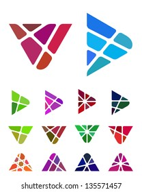 Design vector  arrow logo element. Crushing abstract triangle logotype. Colorful V, A, play icons set.