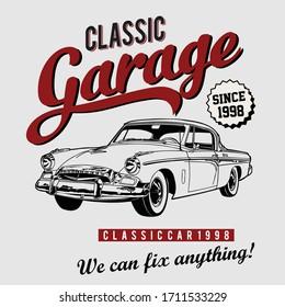 Design vector art classic car garage