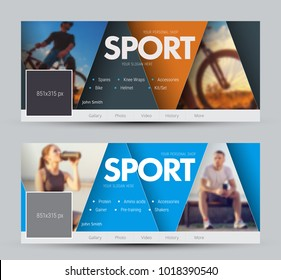 Design of vector banners for social networks with triangles and a place for photos. Cover pattern with orange and blue elements. Sample for sports shops