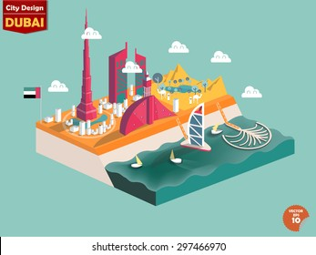 design vector of dubai UAE,dubai city design in perspective,cute design of dubai