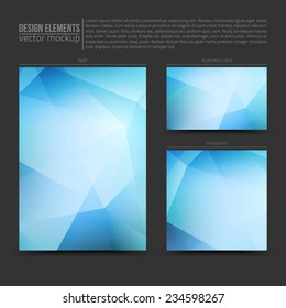 Design vector elements: flyer, business card and invitation. Vector design mockup. Vector print templates. Set of vector banners. Vector design bundle
