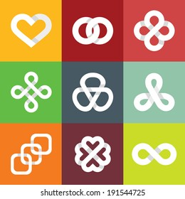 Design vector design elements- infinity lines and symbols - white ribbons and icons - logo design template