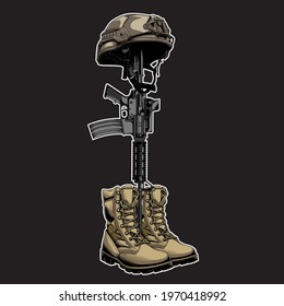 design vector fallen soldier in beground black