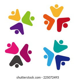 Design vector flower logo element. Abstract people icon. You can use in the media, mobile, public groups, alliances, environmental, mutual aid associations and other social welfare agencies.