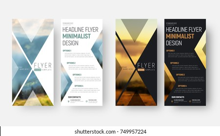 Design of a vector flyer in a minimalist style with a place for a photo. Template  of narrow (vertical) brochures of black and white with triangular elements.