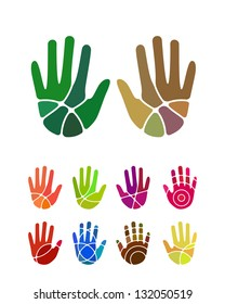Design vector hand logo element. Colorful abstract pattern, icon set.