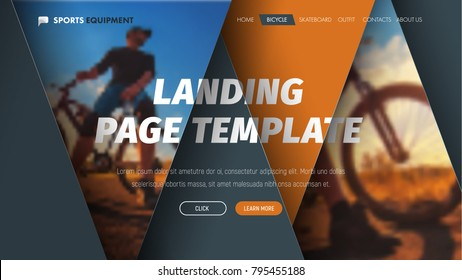 Design of vector header with intersecting floating triangles with photo and text at different height levels. The banner template for the landing page of the site