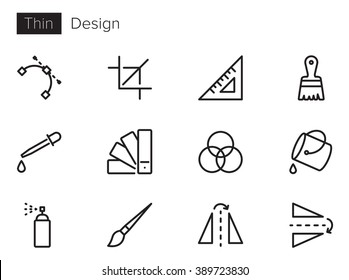 Design Vector icons set Thin line outline