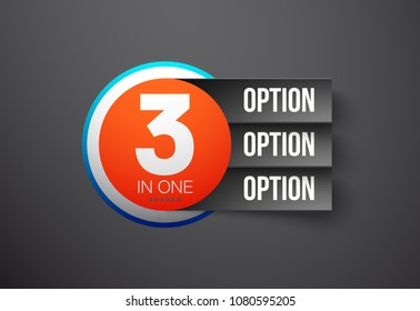 """Design Vector Illustration Sign Numbers """"three in one"""". Flat Button with Figures 3 in 1 icon and Tapes with Names Options. Vector Color banner with logo three and one numeral in the Circle Flat Button"""