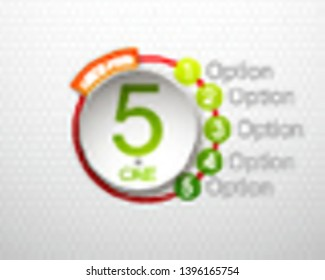 """Design Vector Illustration Sign Numbers """"five in one"""". Flat Button with Figures 5 in 1 icon and Tapes with Names Options. Vector Color banner with logo five and one numeral in the Circle Flat Button"""