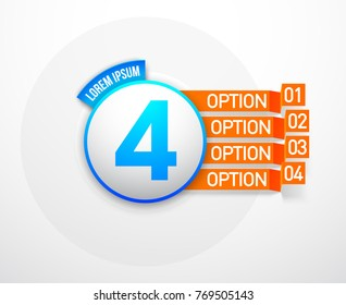 "Design Vector Illustration Sign Numbers ""four in one"". Flat Button with Figures 4 in 1 icon and Tapes with Names Options. Vector Color banner with logo four and one numeral in the Circle Flat Button"