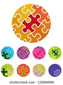 Design vector  jigsaw circular logo element. Colorful abstract pattern, icon set. You can use in the social media, mobile, community website and other commercial image.