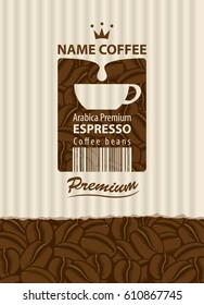 design vector label for coffee beans with cup and bar code in retro style on the striped background