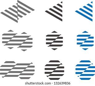 Design vector logo element. Waving strip structure by triangle, hexagonal, octagonal. Modern icon set.
