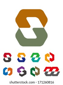 """Design vector logo template. """"c"""", """"d"""", """"u"""", """"m"""", """"n"""", """"s"""" letters icon set.  You can use in the commerce, financial, traffic, construction and communication concept of pattern."""