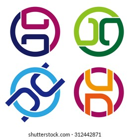 """Design vector logo template. """"C"""", """"G"""", """"N"""", """"U"""", """"O"""", """"H"""", """"D"""" letters icon set. You can use in the commerce, traffic, financial, construction and communication concept of pattern."""