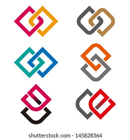 """Design vector logo template. """"g"""", """"c"""", """"e"""", """"o"""" , """"s"""" letters icon set. You can use in the commerce, financial, construction ,spinning and communication concept of pattern."""