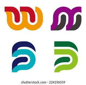 "Design vector logo template. ""w"", ""s"", ""p"", ""w"", ""m"", ""n"", ""u"",""B"" letters icon set. You can use in the commerce, traffic, financial, construction and communication concept of pattern."
