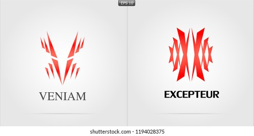 Design Vector Logo,Lorem ipsum, background White and black,red