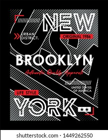 Design vector New York Brooklyn typography, USA for print t shirt