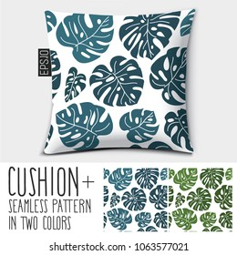 Design vector pillow, cushion Isolated pillow with seamless pattern tropical leaves Monstera in two colors.