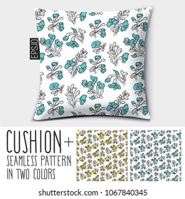 Design vector pillow (cushion). Isolated pillow with seamless pattern Padauk Flower (Pterocarpus macrocarpus) in two colors.
