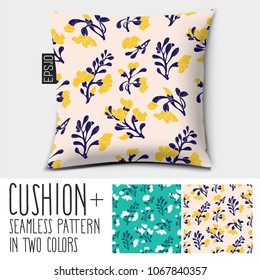 Design vector pillow (cushion). Isolated pillow with seamless pattern Padauk Flower (Pterocarpus macrocarpus) in two colors.