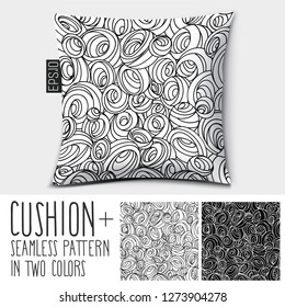 Design vector pillow (cushion).Pillow home decor and luxurious sleep.  Isolated pillow with seamless pattern in the form of circles, balls, spirals, whirlpools and curls in two colors.